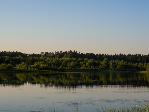 저녁 호수의 아름다운 여름 풍경