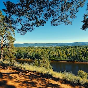 晴れた日の美しい夏の風景。丘の間、木々、森、植生の周りの広い川。