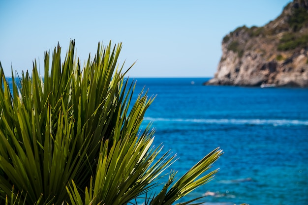 Beautiful summer panoramic seascape.coastline into the sea bays with crystal clear azure water.