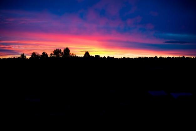 Прекрасный летний рассвет, удивительные восходящие пейзажи, утренний пейзаж в сельской местности, россия