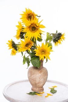 흰색 배경 위에 테이블에 꽃병에 아름다운 해바라기