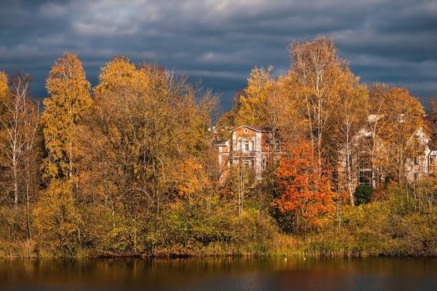 湖の美しい日当たりの良い秋の海岸の風景。黄金の秋の木の背後にある豊かな邸宅。