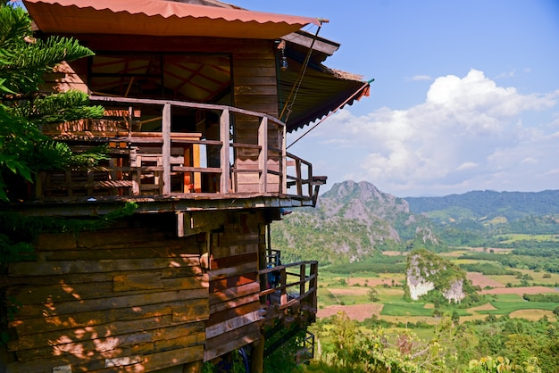Beautiful sunny landscape of mountains with restaurant