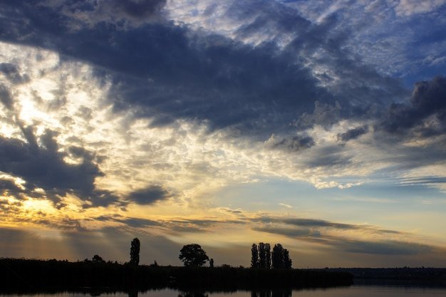 Beautiful sunrise and dramatic clouds on the sky. sunrise light, natural background