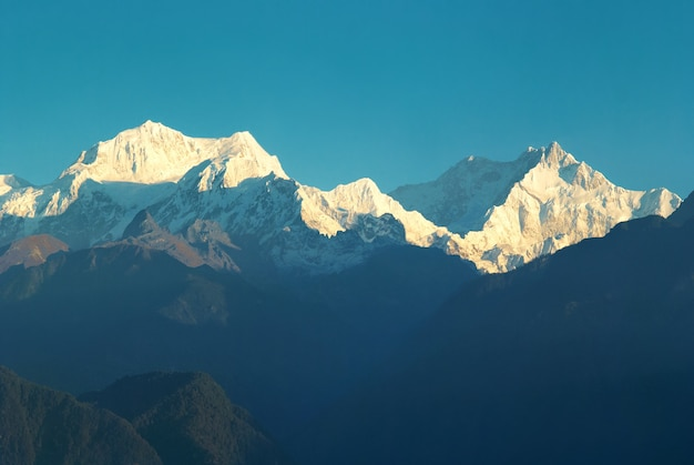 Beautiful sunrise above high mountain kangchenjunga, india