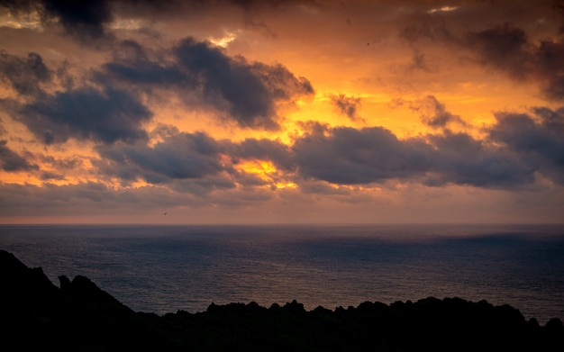 Beautiful sunrise at ilchulbong, jeju island, south korea.