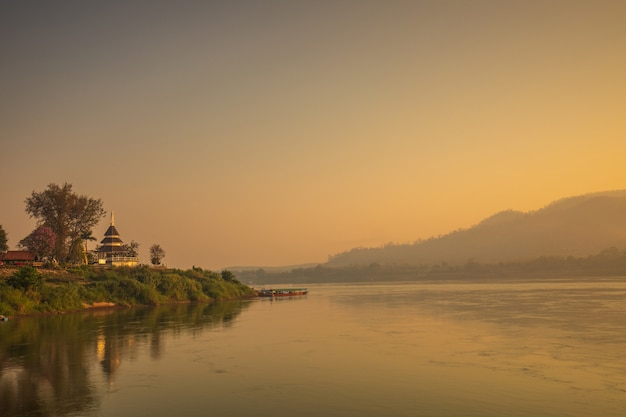 Beautiful sunrise on mekong river at chiang khan, border of thailand and laos, loei province,thailand.