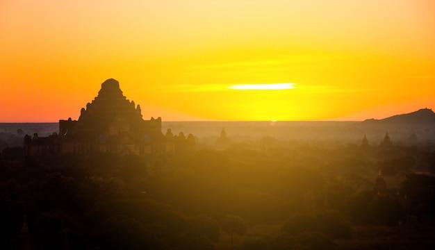 Beautiful sunrise scene of ancient pagoda in bagan , myanmar