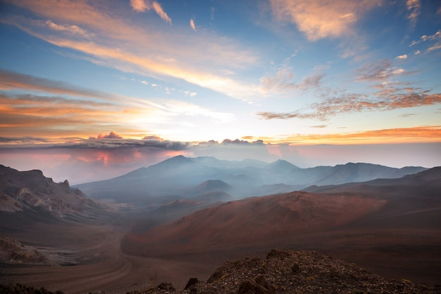 Beautiful sunrise scene  on  haleakala volcano, maui island, hawaii