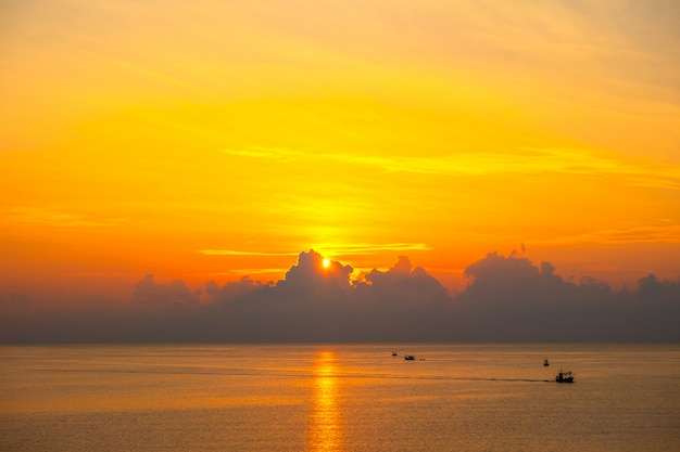 Beautiful sunrise over the sea at prachuap khiri khan province , southern of thailand
