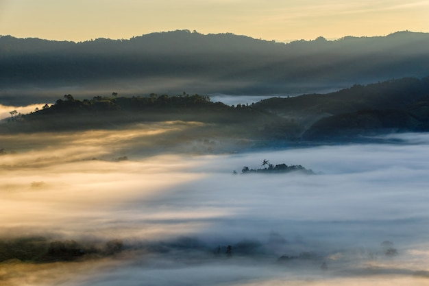 Beautiful sunrise of travel place with morning mist at phu langka national park in phayao province, thailand