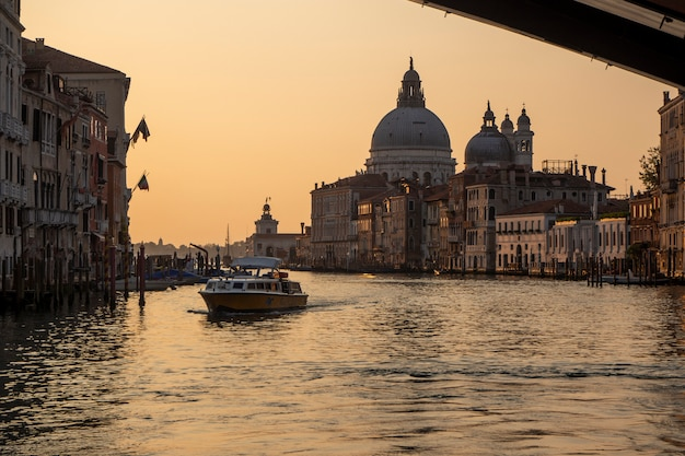 Beautiful sunrise view of the grand canal of venice