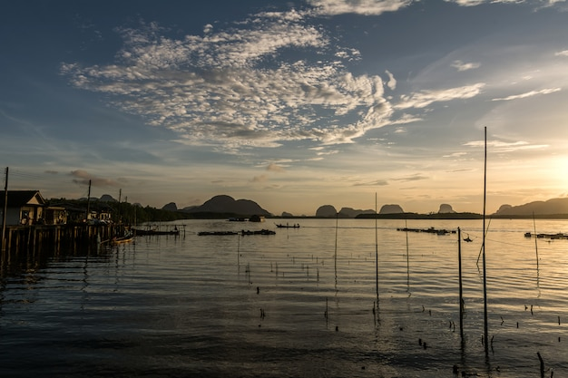 Beautiful sunrise with rural lifestyle of fishermen