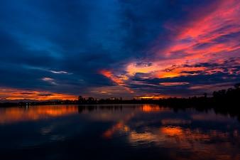 Beautiful sunset at the lake.