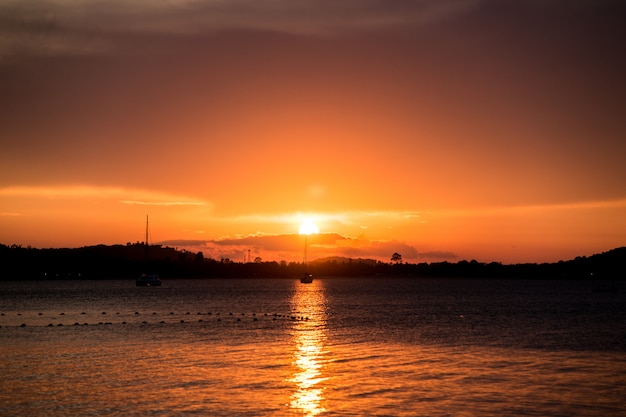 Beautiful sunset on the beach, samui island, thailand