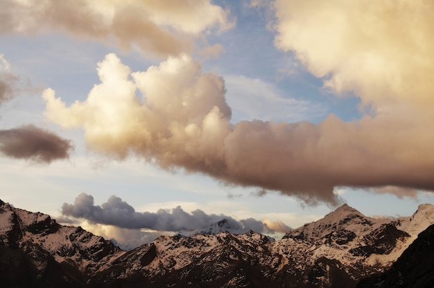 Beautiful sunset clouds in the cordilleras mountain