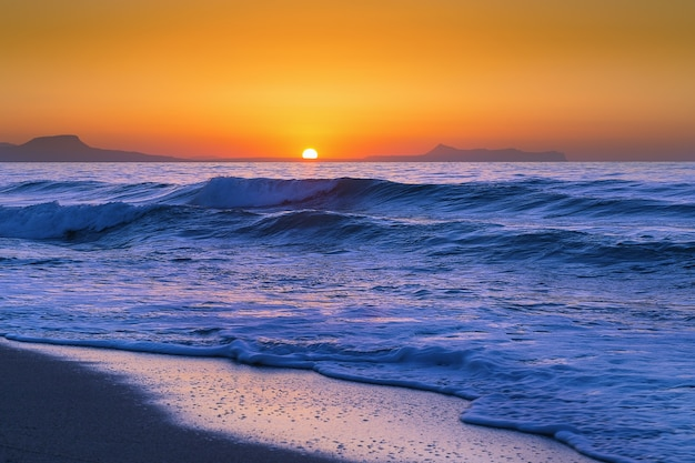 Beautiful sunset on crete island