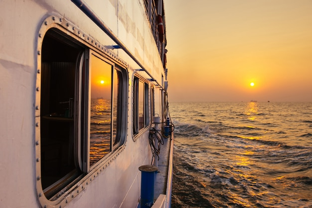 Beautiful sunset from ferry boat in open sea