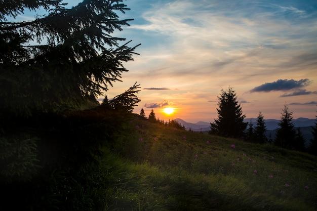 ロドナアルプスの上のカルパティア山脈の高山帯の美しい夕日