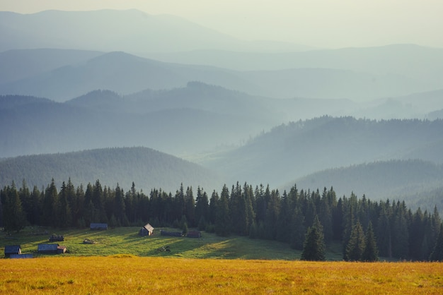 カルパティア山脈のウクライナの美しい夕日