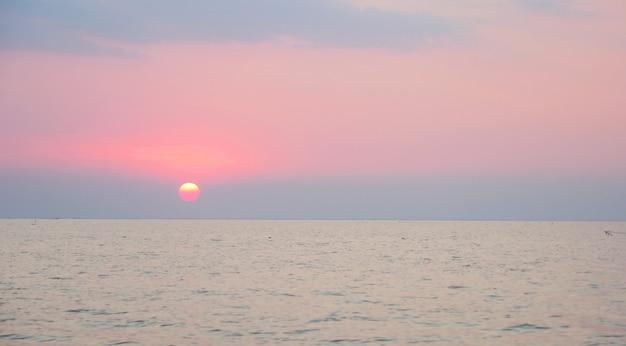 Beautiful sunset landscape view of tonle sap lake in siem reap, cambodia.