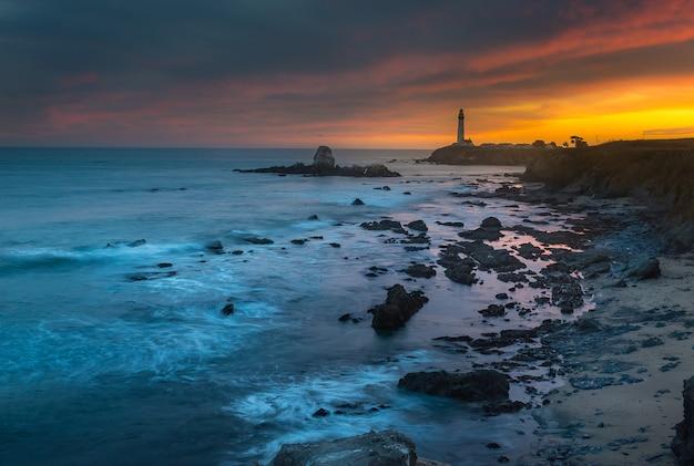Beautiful sunset over pigeon lighthouse