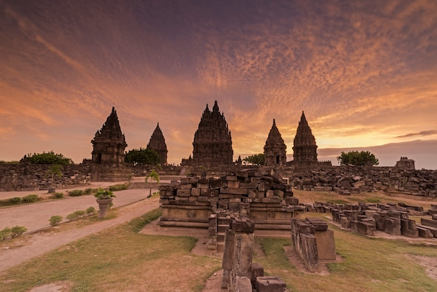 Beautiful sunset at prambanan temple, yogyakarta, indonesia