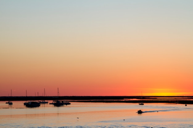 Beautiful sunset at ria formosa marshlands.