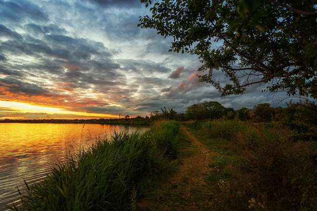 Beautiful sunset on the river, with soft effect, immediately after sunset, with a path along the shore, a tree in the foreground and trees in the distance