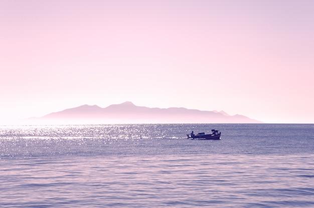 Beautiful sunset over the sea of santorini