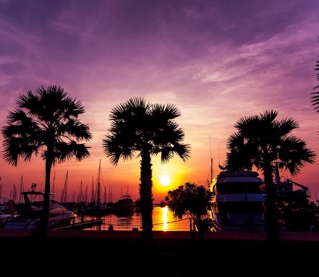 Красивое небо захода солнца в заливе марины. вид на гавань с яхтами