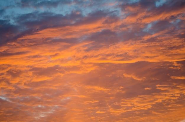 Beautiful sunset sky with bright orange clouds