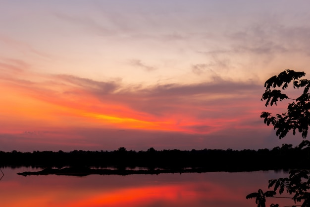Beautiful sunset in twilight tone for background