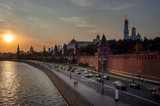 Beautiful sunset view of the center of moscow