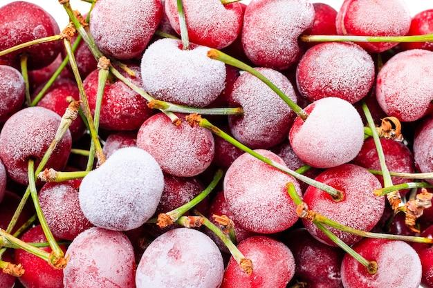 Beautiful sweet frozen cherry.cherry in ice crystals.frozen berries. organic food.close up.top view.