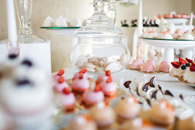 Beautiful sweets on the festive table