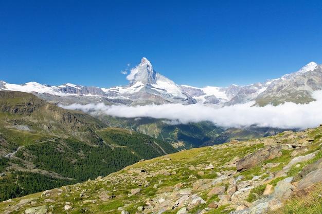 Beautiful swiss alps landscape with matterhorn mountain view, summer mountains, zermatt, switzerland