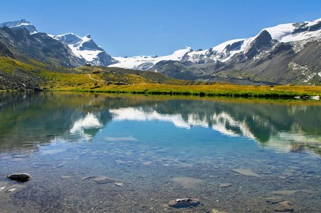 Beautiful swiss alps landscape with stellisee lake and matterhorn mountain reflection in water, summer mountains view, zermatt, switzerland