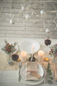 Beautiful table set up for christmas dinner