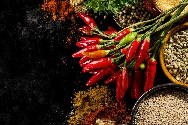 아름다운 맛있는 식욕을 돋 우는 재료 향신료 건강 한 부엌 요리를위한 빨간 고추 고추 식료품. 무료 사진