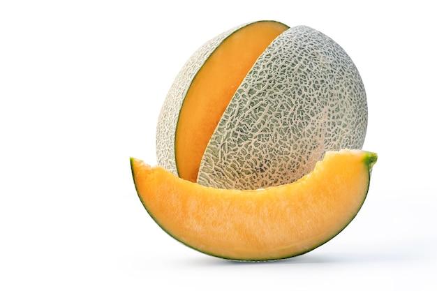 Beautiful tasty sliced cantaloupe isolated on white table background