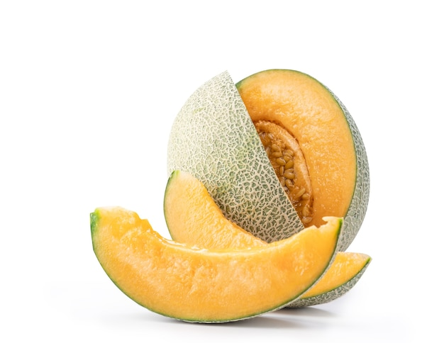 Beautiful tasty sliced cantaloupe isolated on white table background