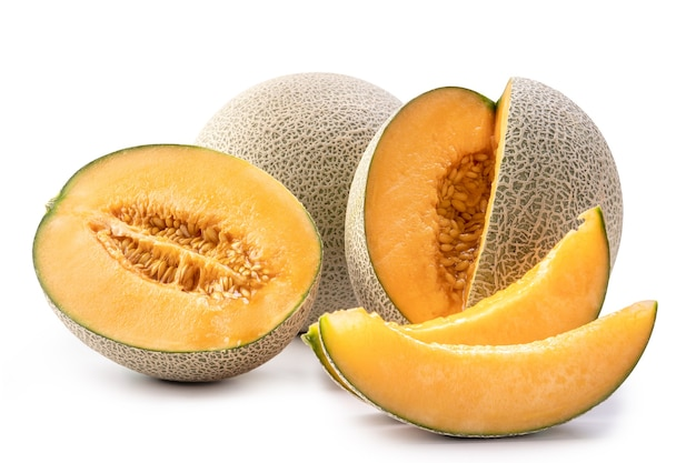Beautiful tasty sliced juicy cantaloupe melon, muskmelon, rock melon isolated on white background, close up, clipping path, cut out.