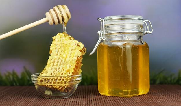 Beautiful tasty sweet food honey in a jar
