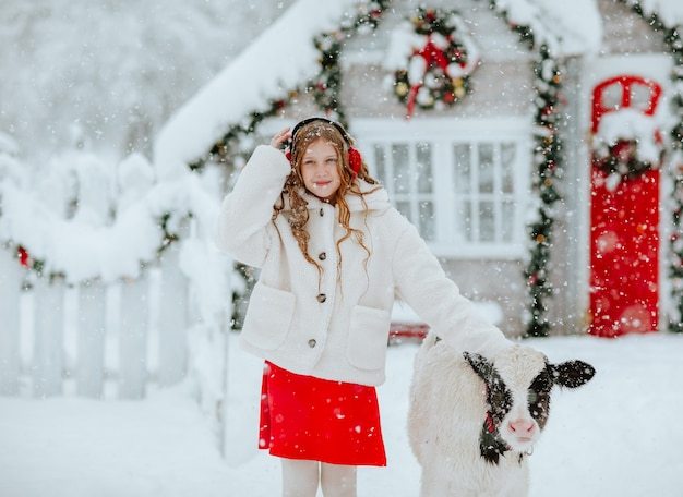 クリスマスの装飾が施された農場で小さな雄牛とポーズをとって赤と白の冬の服を着た美しい十代の少女。たくさん雪が降っています。休日のコンセプト。