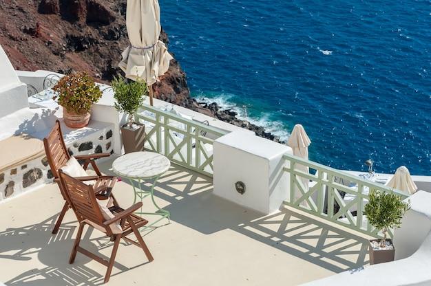 Beautiful terrace on the caldera of santorini island