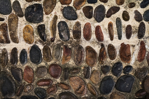 Beautiful texture cobbles or paving stone. top view. horizontal. free space for text.