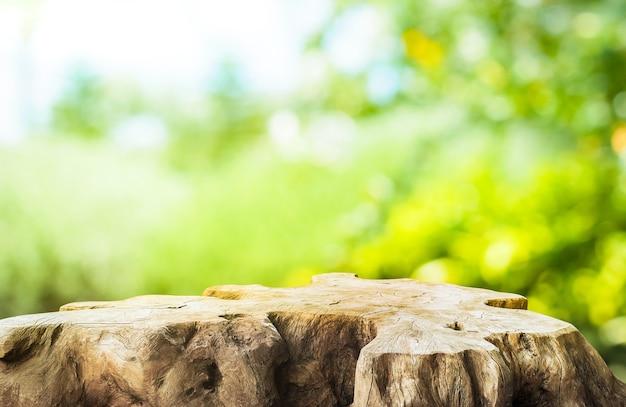 Красивая текстура старой столешницы пня на размытом зеленом фоне садовой фермы. для создания демонстрации продукта или дизайна ключевого визуального макета.