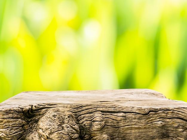 Beautiful texture of old tree stump table top on blur green garden