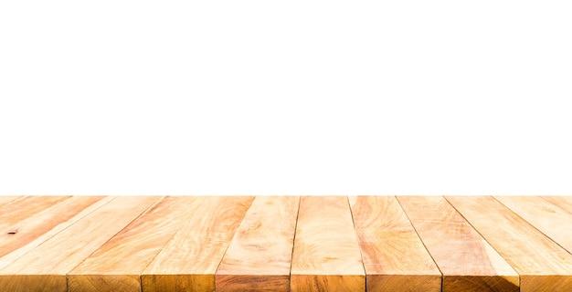 白い背景の上の美しいテクスチャー木製テーブルトップテクスチャー。製品ディスプレイの作成または主要な視覚的レイアウトの設計用。クリッピングパス